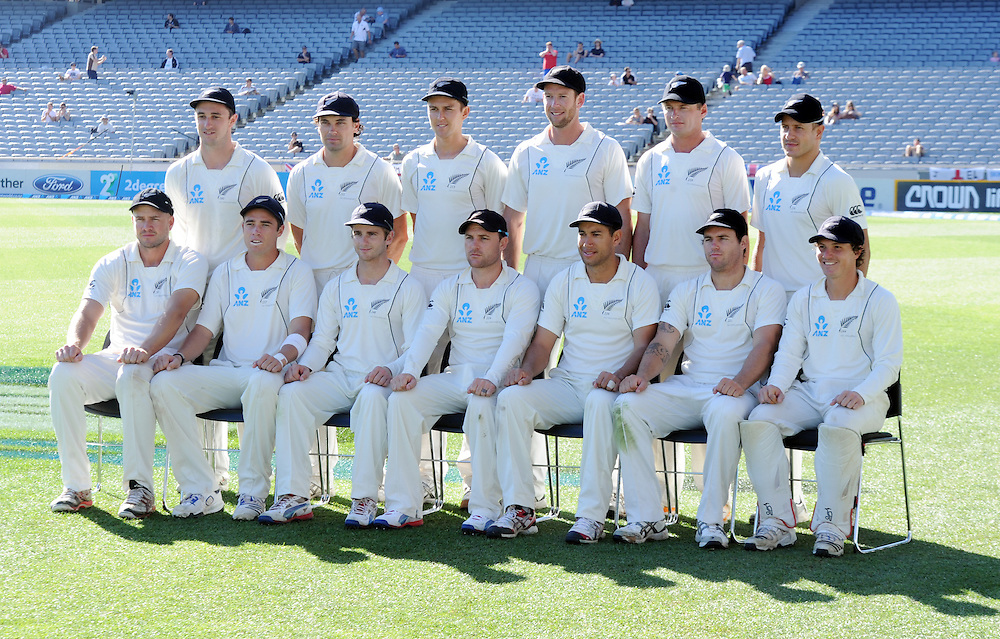 The New Zealand cricket team against England on the fifth day of the 3rd international cricket test, Eden Park, Auckland, New Zealand, Tuesday, March 26, 2013. Credit:SNPA / Ross Setford