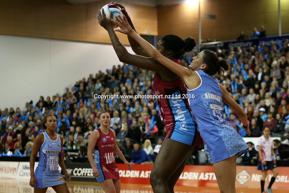 Anna Harrison (R) of the Mystics and Jhaniele Fowler-Reid  of the Steel compete for the ball during the ANZ Championship netball match between the Southern Steel and Northern Mystics, Edgar Centre, Dunedin, Sunday, May 29, 2016. Photo: Dianne Manson / www.photosport.nz