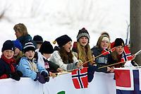 Langrenn, 17. januar 2002, NM senior Høydalsmo. Illustrasjon. Tilskuere, tilskuer, barn, norske flagg. feature