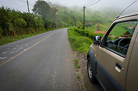 Car parked in the side of a road in the Costa Rica countryside during a fogy morning.