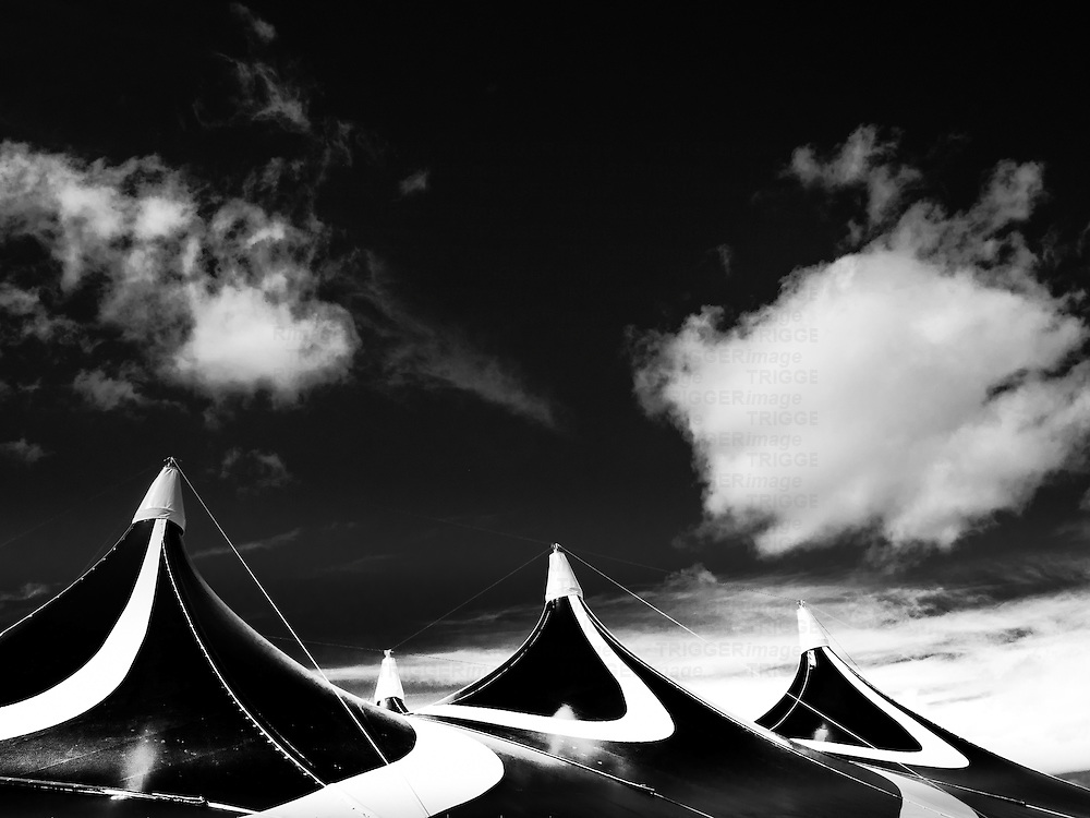 Tents under clouds