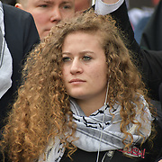 Ahed Tamimi join National Demonstration for Palestine commemorating 71 years since the Nakba (catastrophe). On 15th May 1948 over 750,000 Palestinians were expelled from their land during the establishment of the state of Israel ahead of the Nakba (catastrophe). on this day 15th May 1948 march through central on 11 May 2019, London, UK.