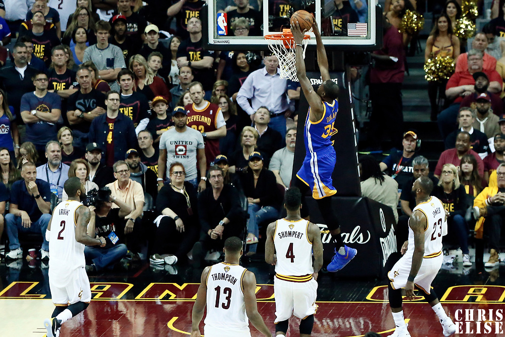 07 June 2017: Golden State Warriors forward Kevin Durant (35) goes for the dunk during the Golden State Warriors 118-113 victory over the Cleveland Cavaliers, in game 3 of the 2017 NBA Finals, at  the Quicken Loans Arena, Cleveland, Ohio, USA.