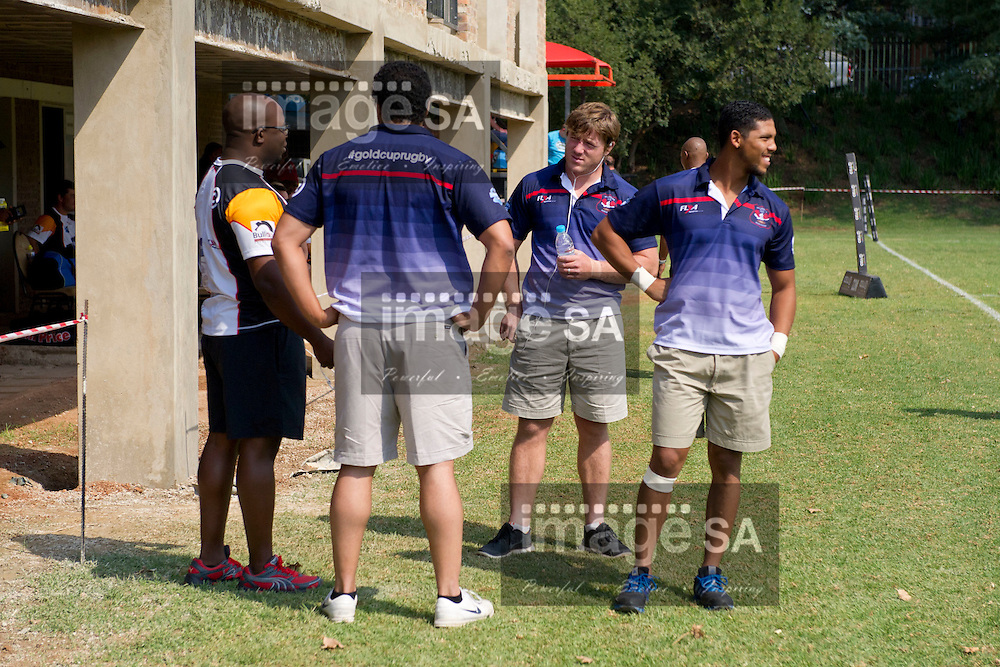 JOHANNESBURG, SOUTH AFRICA - Saturday 14 March 2015,  Wanderers and Villager players chat before the game during the fourth round match of the Cell C Community Cup between Vaseline Wanderers and One Logix United Bulk Villagers Worcester at Kent Park, Wanderers Cricket Club, Johannesburg<br /> Photo by Craig Nieuwenhuizen/ ImageSA/SARU