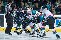 KELOWNA, CANADA - APRIL 25: Rodney Southam #17 of the Kelowna Rockets wins the face off against Donovan Neuls #19 of the Seattle Thunderbirds on April 25, 2017 at Prospera Place in Kelowna, British Columbia, Canada.  (Photo by Marissa Baecker/Shoot the Breeze)  *** Local Caption ***