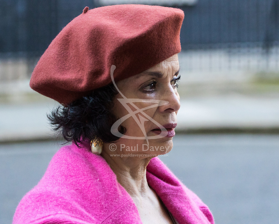 Downing Street, London, March 15th 2017. Bianca Jagger joins Bianca Jagger will join Peter Tatchell and others to hand in a 159,000-signature petition that urges the UK government to halt arms sales to Saudi Arabia over its war crimes in Yemen and its jailing of blogger Raif Badawi and other political prisoners, to Prime Minister Theresa May at 10 Downing Street. PICRURED: Bianca Jagger