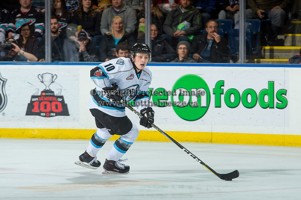 KELOWNA, CANADA - DECEMBER 2: Jonathan Smart #10 of the Kootenay Ice skate with the puck against the Kelowna Rockets on December 2, 2017 at Prospera Place in Kelowna, British Columbia, Canada.  (Photo by Marissa Baecker/Shoot the Breeze)  *** Local Caption ***