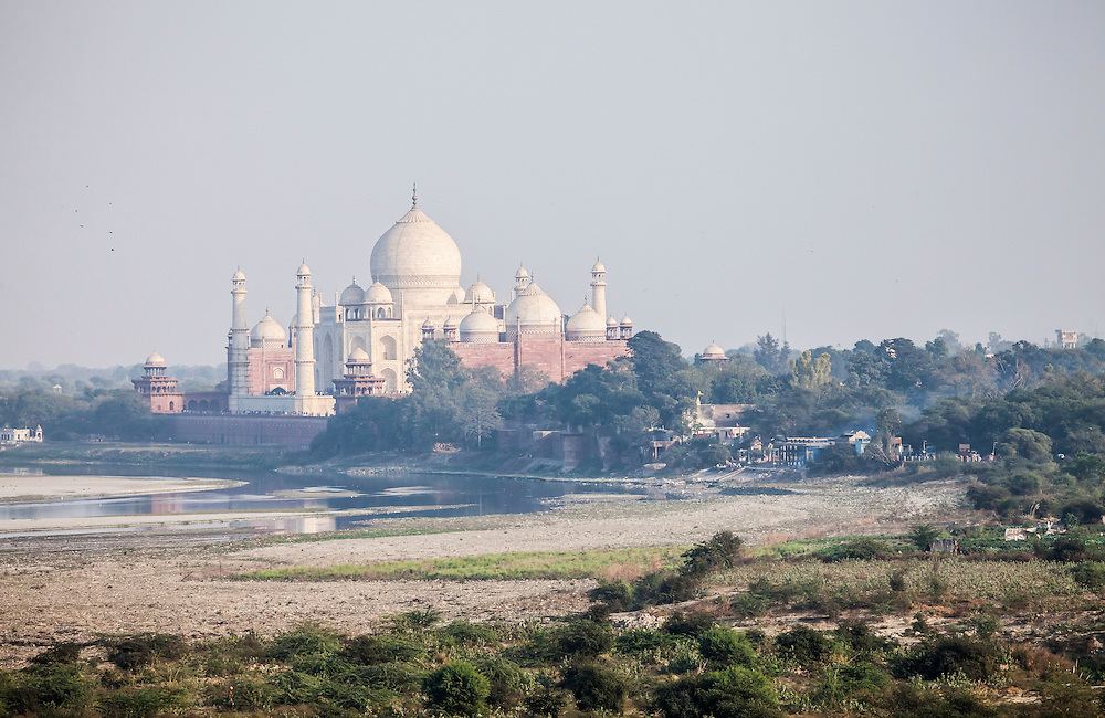 The Taj Mahal as seen from the Agra Fort, Agra, India.