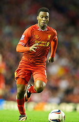 LIVERPOOL, ENGLAND - Tuesday, August 27, 2013: Liverpool's Daniel Sturridge in action against Notts County during the Football League Cup 2nd Round match at Anfield. (Pic by David Rawcliffe/Propaganda)