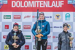 18.01.2020, Loipe Obertilliach, AUT, 50 Jahre Dolomitenlauf, Freestyle, im Bild v.l.: 2. Platz, Julia Kuen (ITA/20km), 1. Platz Lisa Achleitner (AUT/20km), Mag Lane (USA// during the 50 years Dolomitenlauf Freestyle race at Obertilliach, Austria on 2010/01/18, EXPA Pictures © 2020 PhotoCredit: EXPA/ Dominik Angere
