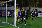 AFC Wimbledon defender Chris Robertson (34) celebrates during the The Emirates FA Cup 1st Round Replay match between AFC Wimbledon and Bury at the Cherry Red Records Stadium, Kingston, England on 15 November 2016. Photo by Stuart Butcher.