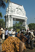 The entrance gate in white. A pile of blessed coconuts, washed in turmeric. The Vel cart procession will soon arrive, and all these coconuts will be smashed and broken in front of the cart. Coconut water flies everyhere accompanied by the sound of breaking nuts.