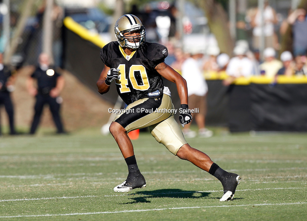 New Orleans Saints cornerback Jonathon Amaya (40) makes a move in pass coverage during the Saints west coast NFL training camp on Wednesday, August 24, 2011 in Oxnard, California. (©Paul Anthony Spinelli)
