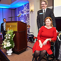 Judge Sabina Herlihy, and Mike Moran, Dedham Savings Bank, at NVCC Annual Meeting and Awards Dinner 2014<br />