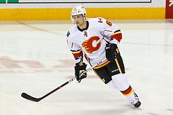 Jan 17, 2012; San Jose, CA, USA; Calgary Flames defenseman Cory Sarich (6) warms up before the game against the San Jose Sharks at HP Pavilion. San Jose defeated Calgary 2-1 in shootouts. Mandatory Credit: Jason O. Watson-US PRESSWIRE