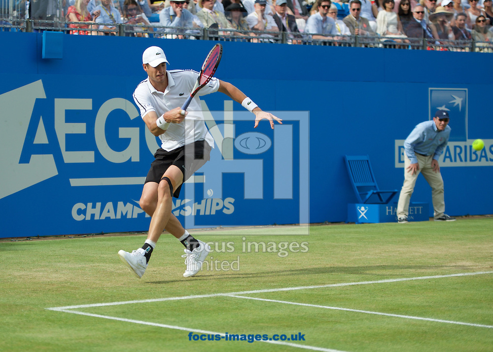 John Isner of the United States during his second round match against Feliciano Lopez of Spain in the Aegon Championships at the Queen's Club, West Kensington<br /> Picture by Alan Stanford/Focus Images Ltd +44 7915 056117<br /> 18/06/2015