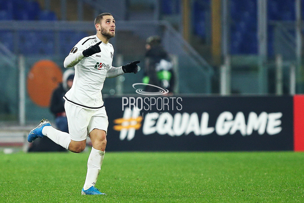 Shon Weissman of Wolfsberg celebrates after scoring 2-2 goal during the UEFA Europa League, Group J football match between AS Roma and Wolfsberg AC on December 12, 2019 at Stadio Olimpico in Rome, Italy - Photo Federico Proietti / ProSportsImages / DPPI