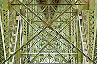 structure under the Deception Pass Bridge (WA SR20) from Canoe Island to Whidbey Island, Puget Sound, Washington, USA.