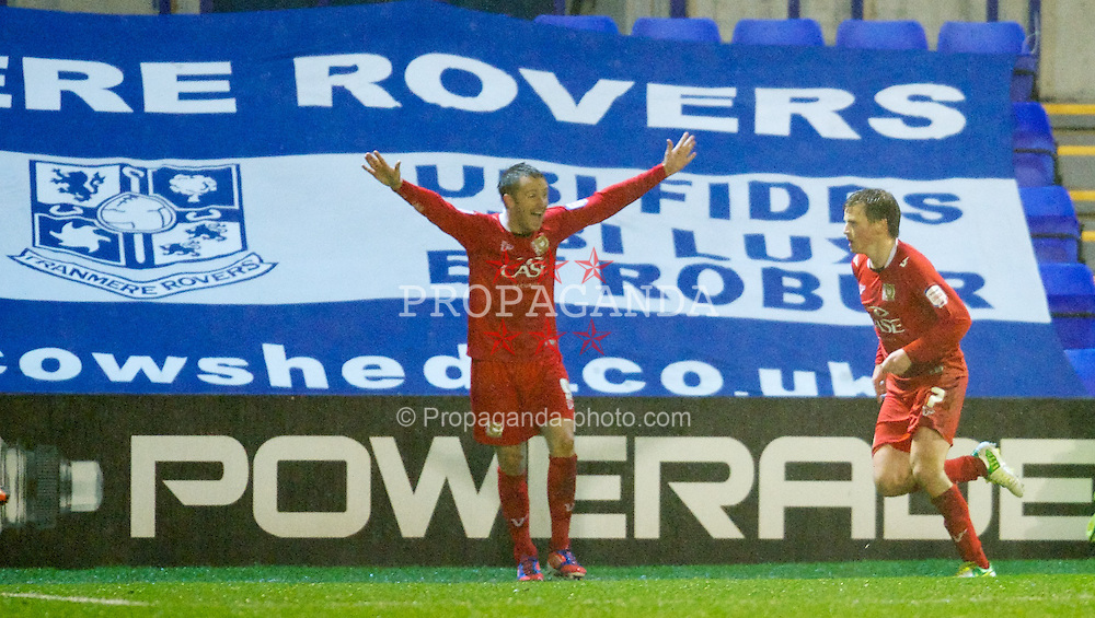 BIRKENHEAD, ENGLAND - Friday, November 16, 2012: Milton Keynes Dons' Stephen Gleeson celebrates scoring the only goal against Tranmere Rovers during the Football League One match at Prenton Park. (Pic by David Rawcliffe/Propaganda)