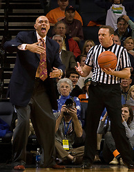 Virginia head coach Dave Leitao argues a call during the Liberty game.  The Virginia Cavaliers fell to the Liberty Flames 86-82 in NCAA Division 1 men's basketball at the University of Virginia's John Paul Jones Arena  in Charlottesville, VA on March 9, 2008.