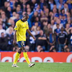 LONDON, ENGLAND - Wednesday, May 6, 2009: Barcelona's Eric Abidal walks off dejected after being sent off during the UEFA Champions League Semi-Final 2nd Leg match against Chelsea at Stamford Bridge. (Photo by David Rawcliffe/Propaganda)