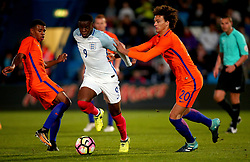 Stephen Mavididi of England Under 20s goes past Phillippe Sandler of Netherlands Under 20s - Mandatory by-line: Robbie Stephenson/JMP - 31/08/2017 - FOOTBALL - Telford AFC - Telford, United Kingdom - England v The Netherlands - International Friendly