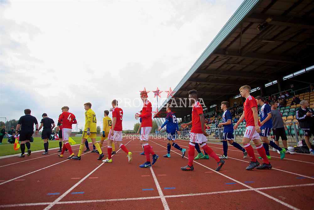 NEWPORT, WALES - Sunday, September 24, 2017: Wales players walk out to face side out to face Gibraltar during an Under-16 International friendly match between Wales and Gibraltar at the Newport Stadium. William Rickard. (Pic by David Rawcliffe/Propaganda)