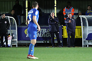 AFC Wimbledon manager Wally Downes making hand gesture from touchline during the EFL Sky Bet League 1 match between AFC Wimbledon and Rochdale at the Cherry Red Records Stadium, Kingston, England on 8 December 2018.