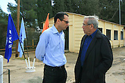"""The government secretary Zvi Hauser and stef wertheimer at the cornerstone ceremony for the """"metzudat koach"""" museum. Metzudat Koach Memorial (also Nabi Yusha fortress) commemorates 28 soldiers who died during the conquering of the strategically important fortress, in 1948. The fortress and observation point is located in the Upper Galilee, Near Naharia. The fortress was a key observation point in the Naftali heights, overlooking the Hula Valley, and used mostly in an attempt to block the Palestine/Lebanon border. Today, the fortress serves as an Israel Border Police base."""
