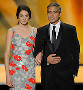 "Shailene Woodley and George Clooney introduced a clip from their film ""The Descendants."" The 18th Annual Screen Actors Guild Awards were held at the Shrine Exposition Center in Los Angeles, CA 1/29/2012(John McCoy/Staff Photographer)"