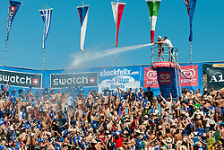 Cooling off fans with water at A1 Beach Volleyball Grand Slam tournament of Swatch FIVB World Tour 2010, final, on July 31, 2010 in Klagenfurt, Austria. (Photo by Matic Klansek Velej / Sportida)