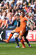 Luton Town defender Glen Rea (16) battles with Notts County forward Jonathan Stead (30) during the EFL Sky Bet League 2 match between Notts County and Luton Town at Meadow Lane, Nottingham, England on 5 May 2018. Picture by Jon Hobley.