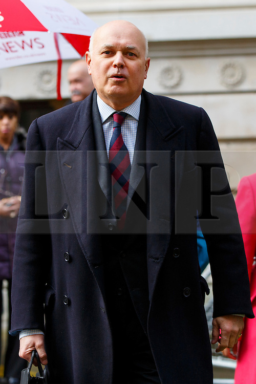 © Licensed to London News Pictures. 20/02/2016. London, UK. Work & Pensions Secretary, IAIN DUNCAN SMITH attending a cabinet meeting in Downing Street on Saturday, 20 February 2016 after a deal made on the UK's EU membership in Brussels. Photo credit: Tolga Akmen/LNP