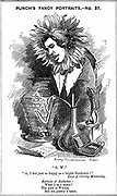 Oscar Wilde (1854-1900) Irish playwright, novelist, poet and wit. Cartoon by Edward Linley Sambourne from  his 'Fancy Portraits'  series for 'Punch' London, 25 June 1881, showing Wilde as a sunflower. Wood engraving