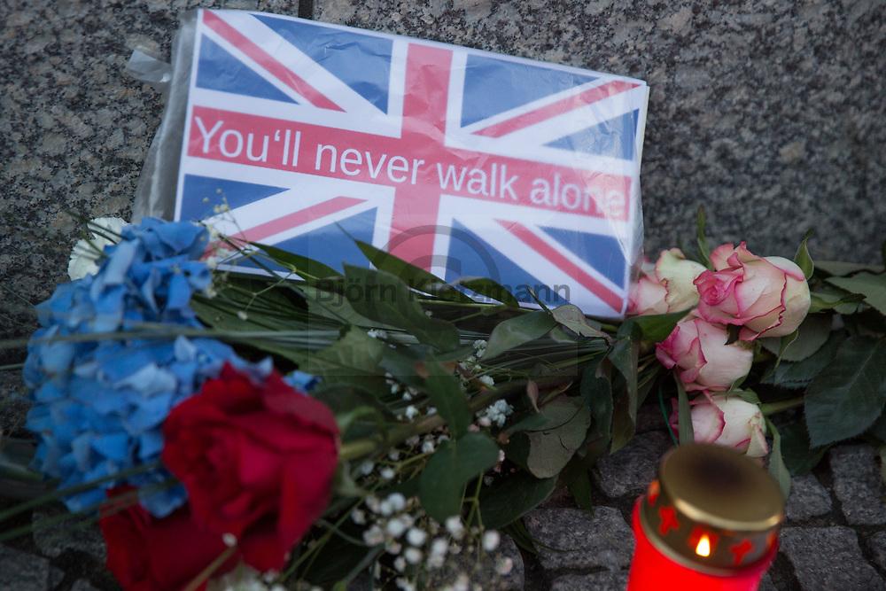 Berlin, Germany - 04.06.2017<br /> <br /> Flowers at the British embassy in Berlin in memory of the victims of terror attack in London.<br /> <br /> Blumen an der britischen Botschaft in Gedenken an die Opfer des Terror-Anschlags in London.<br /> <br /> Photo: Bjoern Kietzmann