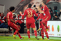 Fotball<br /> Tyskland<br /> 15.02.2013<br /> Foto: Witters/Digitalsport<br /> NORWAY ONLY<br /> <br /> 0:2 Jubel v.l. Dante, Mario Gomez, Torschuetze Arjen Robben, Bastian Schweinsteiger (Bayern)<br /> <br /> Fussball, Bundesliga, VfL Wolfsburg - FC Bayern München 0:2