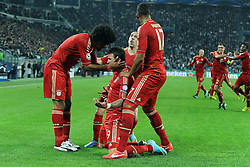 10.04.2013, Juventus Stadium, Turin, ITA, UEFA Champions League, Juventus Turin vs FC Bayern Muenchen, Viertelfinale, Rueckspiel, im Bild Torjubel Bayern nach dem Tor zum 0:1 l-r: DANTE (FC Bayern Muenchen), Torschuetze Mario MANDZUKIC (FC Bayern Muenchen),  Franck RIBERY (FC Bayern Muenchen),  Jerome BOATENG (FC Bayern Muenchen) // during the UEFA Champions League best of eight 2nd leg match between Juventus FC and FC Bayern Munich at the Juventus Stadium, Torino, Italy on 2013/04/10. EXPA Pictures © 2013, PhotoCredit: EXPA/ Eibner/ Global..***** ATTENTION - AUSTRIA ONLY *****