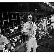 Josh Donaldson, Toronto Blue Jays, in the dugout preparing to bat during the New York Mets Vs Toronto Blue Jays MLB regular season baseball game at Citi Field, Queens, New York. USA. 15th June 2015. Photo Tim Clayton