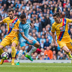 Crystal Palace midfielder James McArthur (18) and Manchester City forward Gabriel Jesus (33) challenge for a loose ball in the English Premier League match between Manchester City and Crystal Palace<br /> (c) John Baguley | SportPix.org.uk