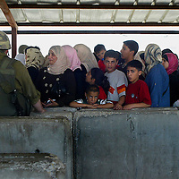 Palestinian queue at the Hawara checkpoint.