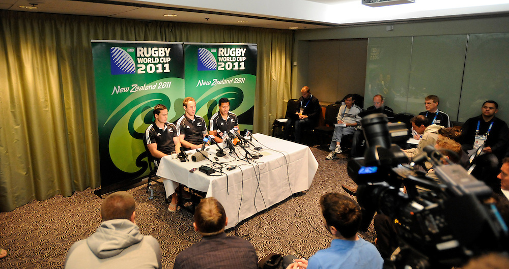 New Zealand's Zac Guildford, left, Jimmy Cowan and Mils Muliaina at the teams naming for the Rugby World Cup pool match against Canada, Wellington, New Zealand, Friday, September 30, 2011. Credit:SNPA / Ross Setford