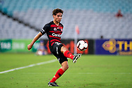 SYDNEY, NSW - JANUARY 18: Western Sydney Wanderers defender Tate Russell (33) controls the ball at the Hyundai A-League Round 14 soccer match between Western Sydney Wanderers and Adelaide United at ANZ Stadium in NSW, Australia 18 January 2019. Image by (Speed Media/Icon Sportswire)