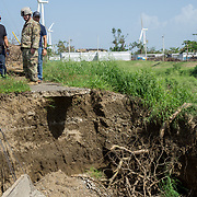 OCTOBER 20 - SANTA ISABEL, PUERTO RICO - <br /> Santa Isabel mayor Enrique Questell Alvarado, left,  shows 105th Engineer Battalion Lt. Coronel Cale Moody, damage caused by Hurricane Maria in his town.<br /> (Photo by Angel Valentin/Freelance)
