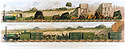 Travelling on the Liverpool and Manchester Railway 1831. Top: Goods train drawn by locomotive 'Liverpool'. Bottom: Cattle train drawn by locomotive 'Fury'. The world's first passenger railway, the Liverpool and Manchester opened 15 September 1830: Principal engineer George Stephenson. Lithograph.