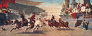 Chariot race in Ancient Rome, late 19th century illustration. Bread and circuses were two methods used to keep Emperors in favour with the citizens of Rome.