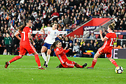 Francesca Kirby (10) of England shoots at goal during the FIFA Women's World Cup UEFA Qualifier match between England Ladies and Wales Women at the St Mary's Stadium, Southampton, England on 6 April 2018. Picture by Graham Hunt.