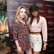 Ella Walsh @ellamwalsh, Geo Rushby @georushby attend the Oppo party to launch its new Madagascan Vanilla, Sicilian Lemon and Raspberry Cheesecakes, served with Skinny Prosecco at Farm Girls Café, 1 Carnaby Street, Soho, London, UK on July 18 2018.