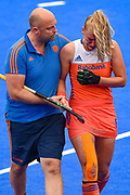 Laurien Leurink of the Netherlands (6) injures her hand and retires from the match during the Vitality Hockey Women's World Cup 2018 Pool A match between the Netherlands and Italy at the Lee Valley Hockey and Tennis Centre, QE Olympic Park, United Kingdom on 29 July 2018. Picture by Martin Cole.
