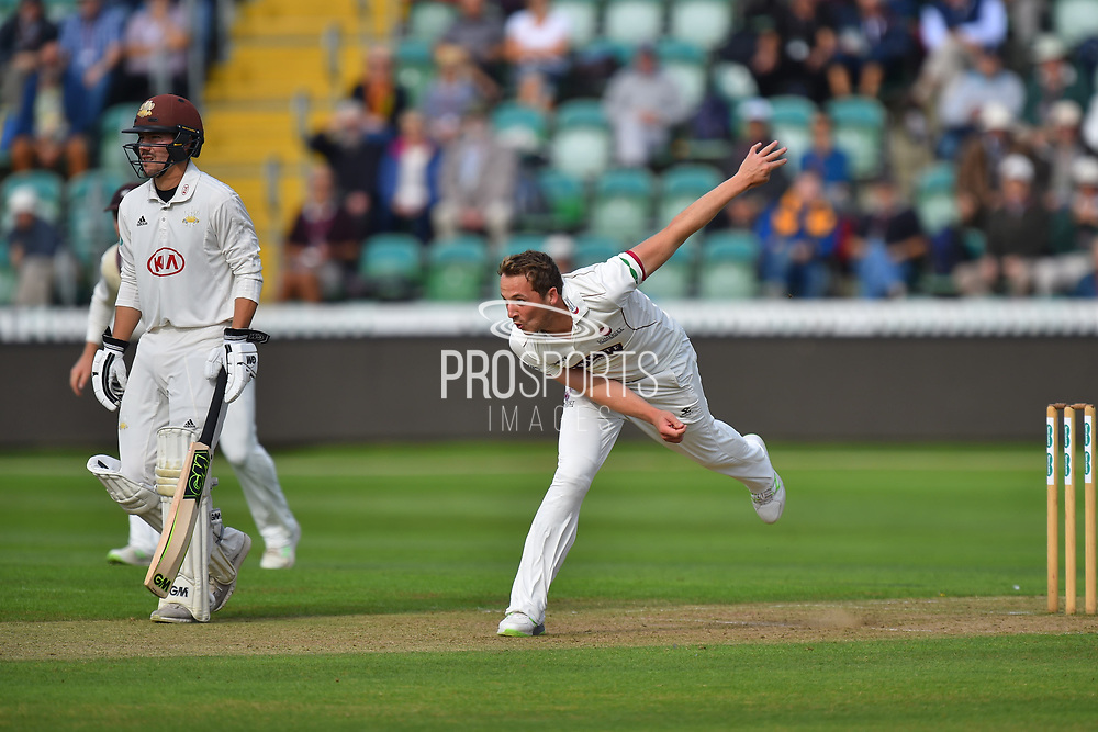 Josh Davey of Somerset bowling during the opening day of the Specsavers County Champ Div 1 match between Somerset County Cricket Club and Surrey County Cricket Club at the Cooper Associates County Ground, Taunton, United Kingdom on 18 September 2018.