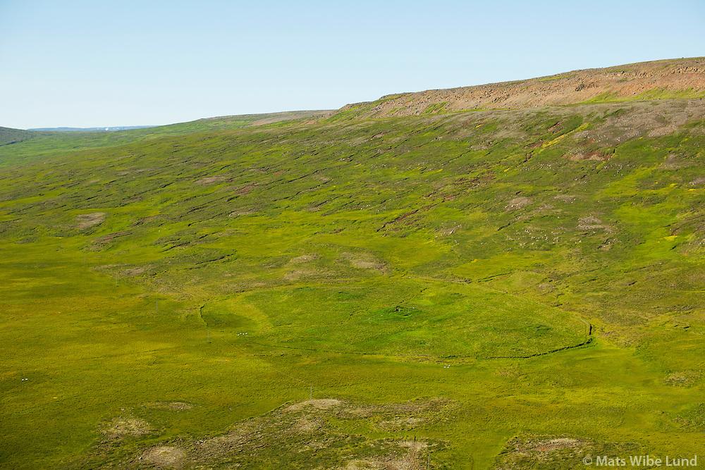Rjúpnafell, Vesturárdalur, séð til vesturs. Vopnafjarðarhreppur. /  Rjupnafell abandoned farmsite in Vesturardalur, viewing west. Vopnafjardarhreppur.